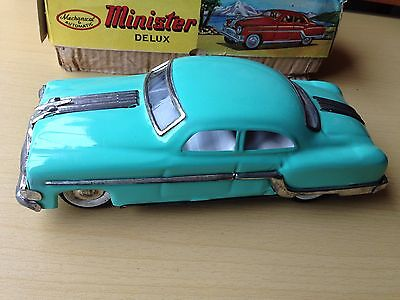 Vintage Tinplate Friction Drive Minister Delux Pontiac Toy Car - Boxed