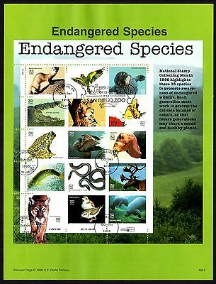 Endangered Species USPS 1995 First Day Souvenir Page; Manatee, Condor; # 3105