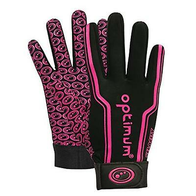 NEW Optimum Boys Velocity Thermal Rugby Gloves - Black/Pink, Small Boys