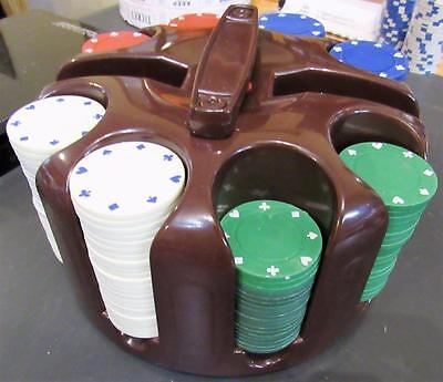 Revolving Plastic Poker Chip Caddy & Card Holder w/ a bunch of poker chips