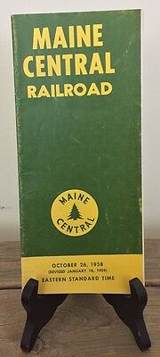 1958 Maine Central Railroad Time Table Train Schedule Pamphlet With Map MCRR