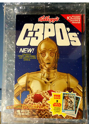 Vintage Star Wars Kellog's C-3POs Cereal Box Only (1984) +Acrylic Display Case