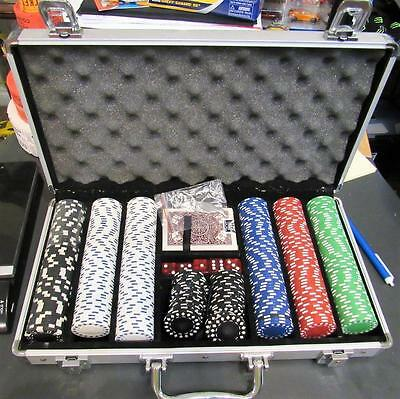 LOTS OF Chips Poker Dice Chip Set Texas Hold'em Cards w/ Aluminum Case