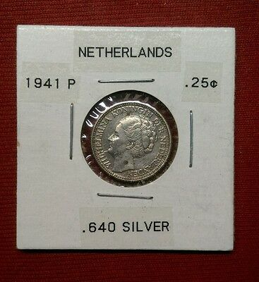 Netherlands 25 Cents, 1941, Silver, WWII Coin