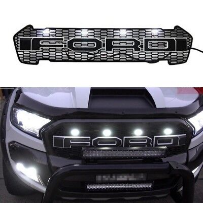 NEW RANGER Raptor Style Front Grill fit 2015 2016 2017 Models BLACK w WHITE LEDs