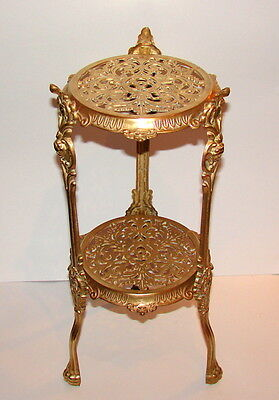 Antique Ornate 2 Tier Polished Solid Brass Plant Stand Lion Feet Cherubs