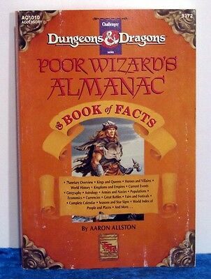 Poor Wizards Almanac Book of Facts Advanced Dungeons & Dragons AD&D AC1010 w/map
