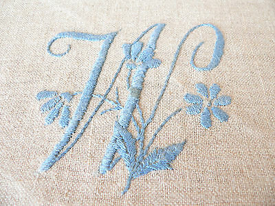 Vintage  Monogram W Antique Hand Embroidered Round Crochet Linen Old Doily Press