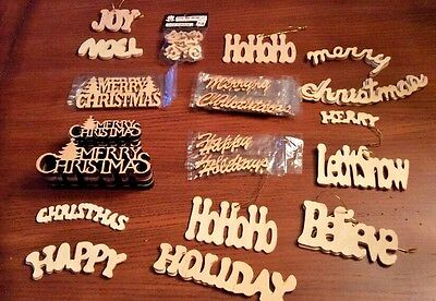 Lot of 42 Wooden Unfinished Christmas Craft Cutouts