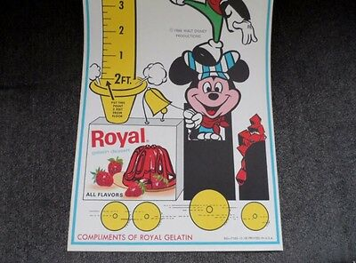 """Vintage Disney Mickey Mouse Royal Gelatin Paper Chart """"How Tall Are You"""" RARE!"""