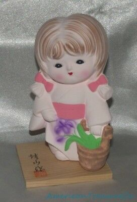 """Vintage 5"""" Geisha Girl w/Pigtails & Flowers Ceramic Figure w/Stand Made In Japan"""