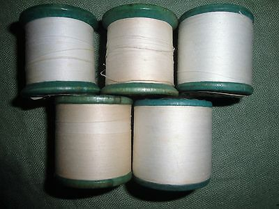 (2334) 5 Vintage thread on wooden spools ~ large white 6 cord