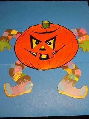 Vintage Halloween Jointed Pumpkin Funky Outfit Diecut Cardboard Decoration