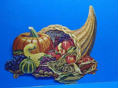 Vintage Cornucopia Fruit Vegetables Fall Thanksgiving Diecut Decoration