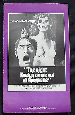 NIGHT EVELYN CAME OUT OF THE GRAVE press book ANTHONY STEFFEN    1971