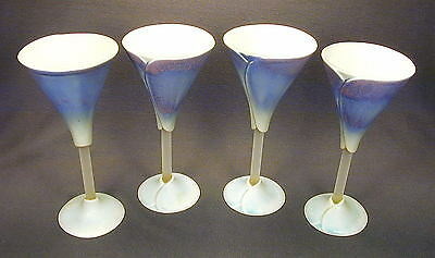 SIGNED LILY GOBLETS BY NEWMAN CERAMIC WORKS x 4  - SHIP TO NORTH AMERICA ONLY