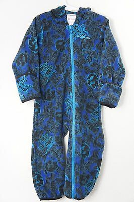 Columbia Fleece Zip Up Bunting Winter Hooded Outfit Blue and Black Sz 24 Months