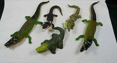Lot of 5 Alligator Figures Crocodile Set Hard Plastic NICE!