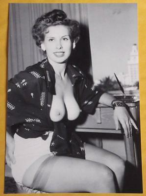 Vintage Nude Pinup Model 4x6 Photo Busty Stockings Print Q22