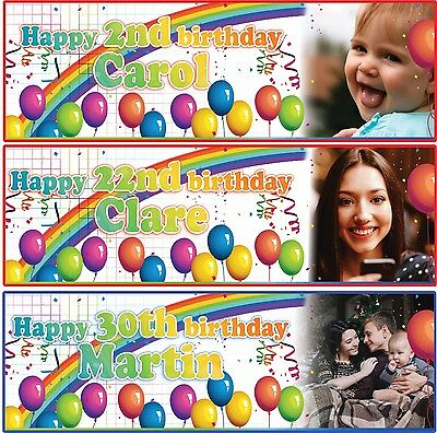 PERSONALISED BIRTHDAY BANNER BOYS GIRLS PHOTOS BALLOON 1st 2nd 3rd-any name age