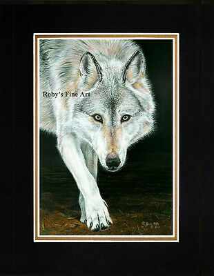 """Matted Timber Wolf Art Print """"Out Of The Shadows"""" 8x10 Mat by Artist Roby Baer"""