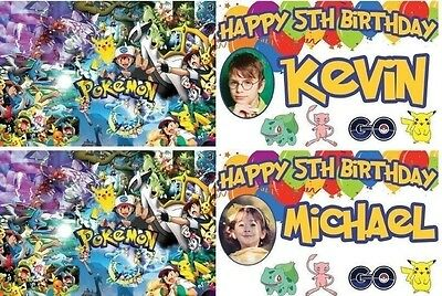 personalised pokemon birthday banner party balloon photo-any name ages.photos ae