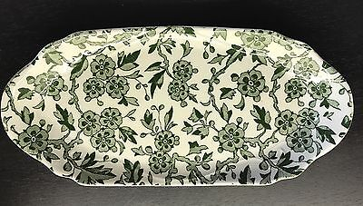 Vtg Rare Green Calico Burgess & Leigh Staffordshire Burleigh Arden Biscuit Tray