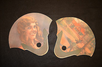 Two Antique 1920s Mulholland's Ice Cream Advertising Fans Carbondale PA