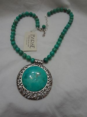 Large Barse Turquoise & Sterling Silver 925 Pendant on Necklace Signed