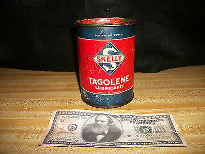 Vintage Antique Skelly Tagolene Oil 1 Pound Grease Can Tin Can Oil Container
