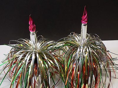 Vintage Pair 1950's Mercury Glass Candle & Colorful Tinsel Christmas Ornaments