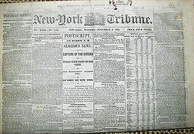 News Ny Tribune Nov 8 1864 Capture Css Florida Presidential Elections Lincoln