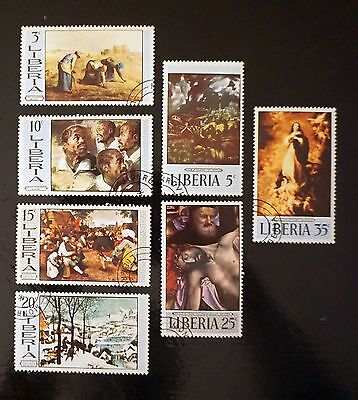 LIBERIA complete set of 7 PAINTINGS Artwork stamps   used  Lot #9