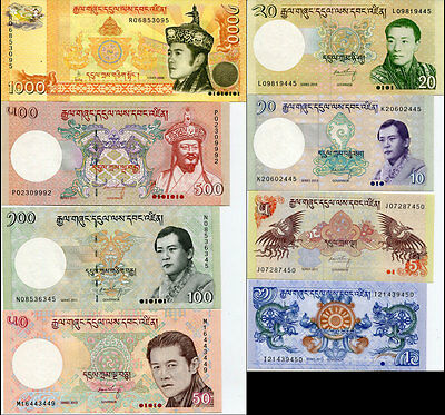 Bhutan Set 8 Pcs 1 5 10 20 50 100 500 1000 Ngultrum 2008-2013 P 27 - 34 Unc