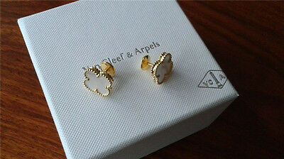 VCA 18K Yellow Gold Vintage Alhambra  mother of pearl Earrings