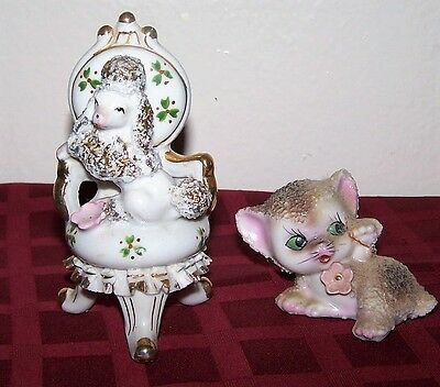 """Vintage 4"""" Queen Floral Chair Throne Spaghetti Poodle Figurine Japan"""