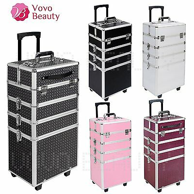 4 in 1  Extra Large Makeup Case Hairdressing Vanity Beauty Trolley Cosmetic Box