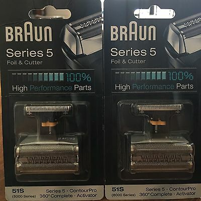 2 X BRAUN 51s - Series 5 - 360 Complete Foil & Cutter Replacements ���� Stock