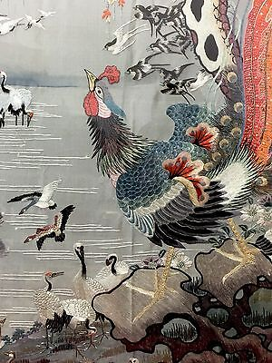 Antique Chinese Hundred Birds Silk Embroidery Textile Panel Qing