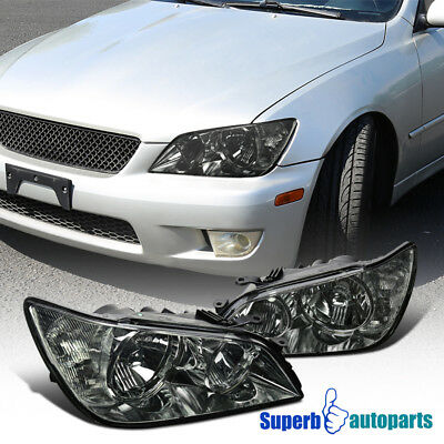 For 2001-2005 Lexus IS300 Chrome Headlights Head Lamps Replacement Smoke Pair