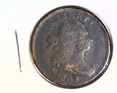 1804 Draped Bust Half Cent   Good Details Corroded Cleaned