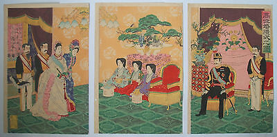 1900 Japanese Original Old Antiques Woodblock Print Triptych Of Wedding