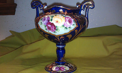 Large Antique Cobalt Blue Nippon Bolted Urn loaded with gold and roses