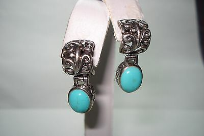 Vintage Southwestern Turquoise and Sterling Silver .925 Earrings