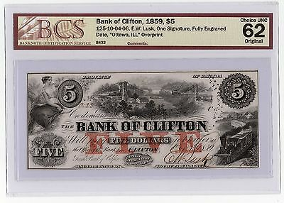 Bank Of Clifton 1859, $5 BCS Certified Choice UNC.