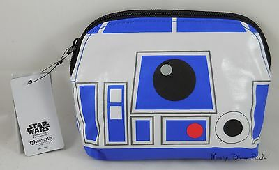 NEW Disney Star Wars R2-D2 Droid Face Cosmetic Make-Up Tote Bag Purse