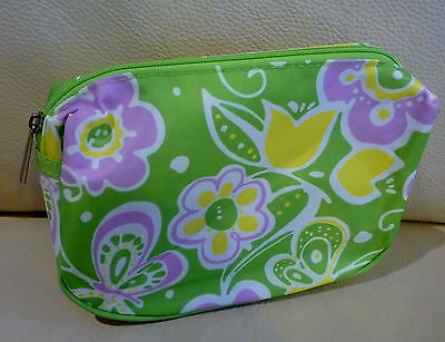CLINIQUE Green Makeup Cosmetics Bag decorated with Flowers Pattern, Brand NEW!!