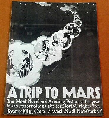 A TRIP TO MARS Vintage 1920 Sci-Fi Fantasy Danish Silent Film Movie TRADE AD