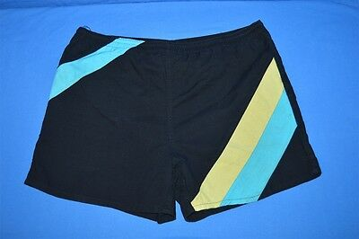 vintage 90s OCEAN SIDE BLACK STRIPED NYLON LINED MEN'S SWIM TRUNKS SHORTS M 36