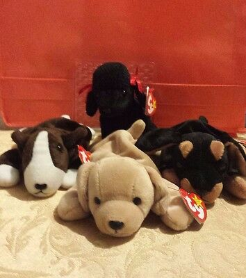 NWT Lot of 4 Collectible Retired Dogs/Puppies ty Original Beanie Babies